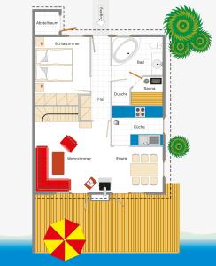 Ferienhaus Kolumbus mit Wasserterasse direkt am Scharmützelsee – Ansicht des Grundrisses fürs Erdgeschoss