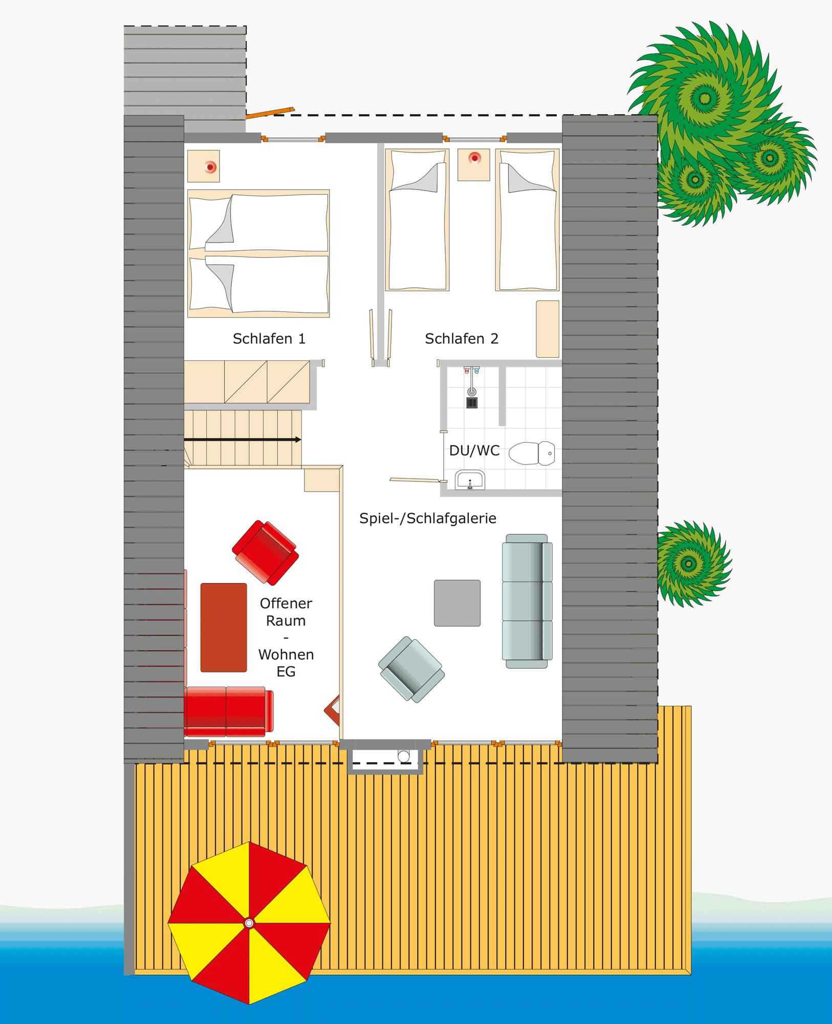 Ferienhaus Kolumbus mit Wasserterasse direkt am Scharmützelsee – Ansicht des Grundrisses fürs Dachgeschoss