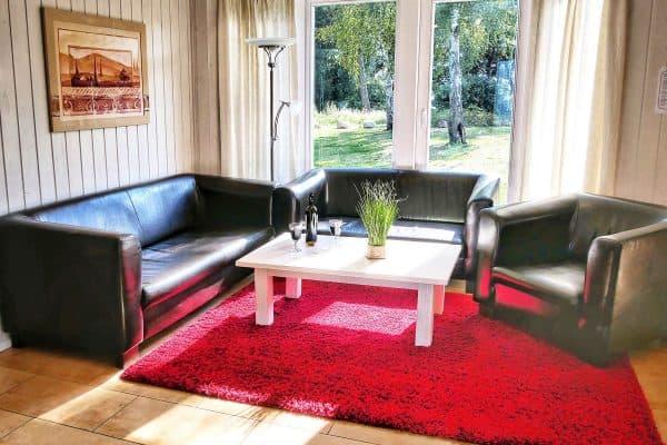 Wohnzimmerbereich im Ferienhaus Seerose / Seeperle in Wendisch Rietz