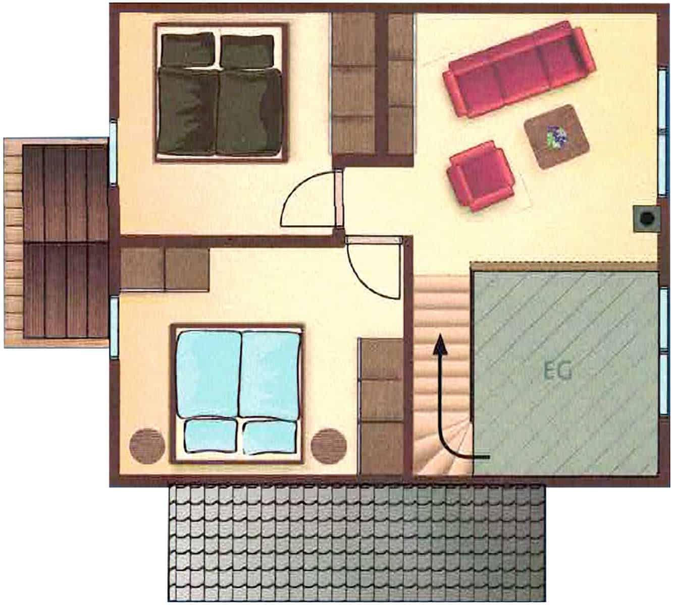 Ferienhaus Falster in Bad Saarow am Scharmützelsee – Ansicht des Grundrisses des Dachgeschosses