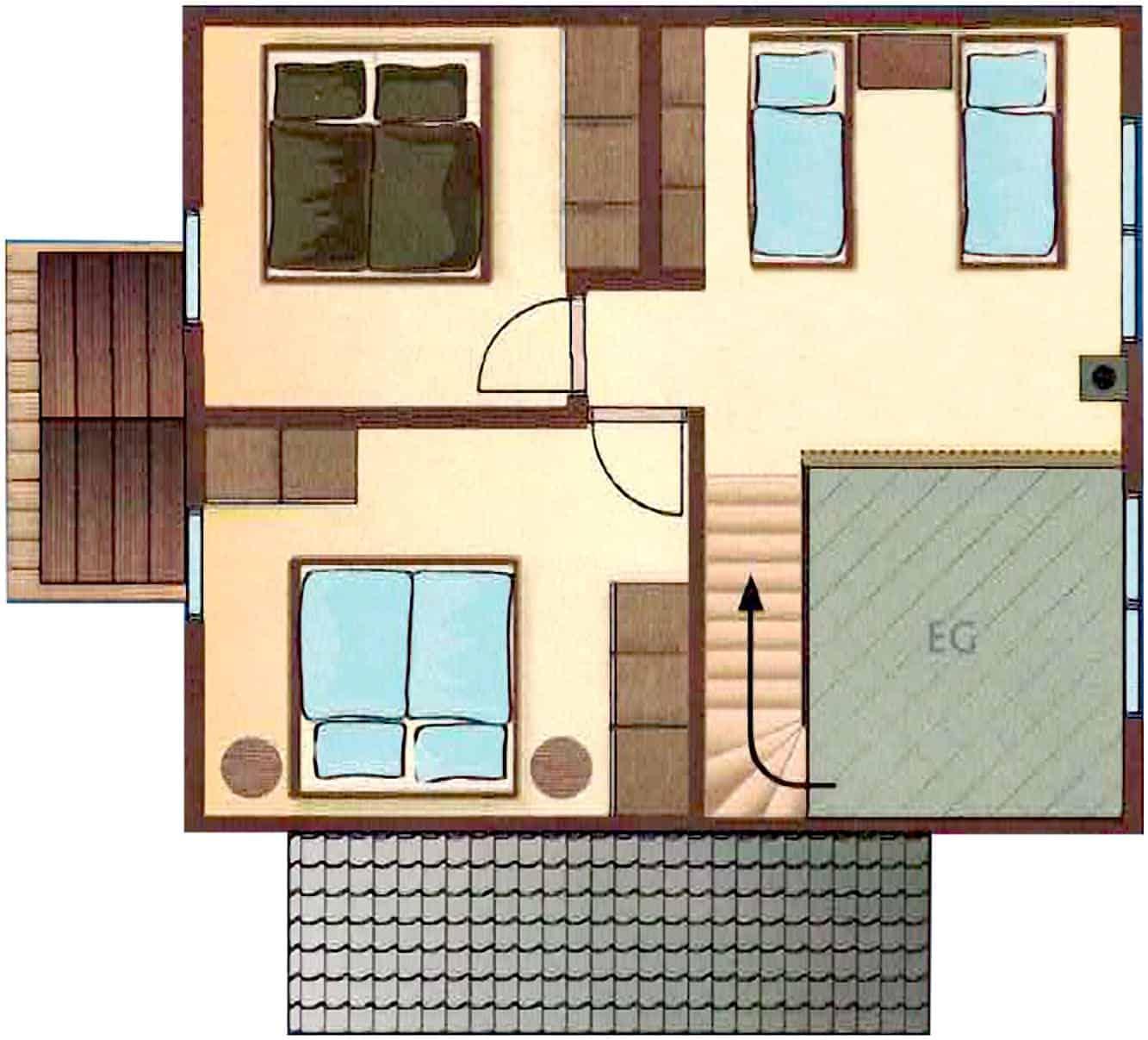 Ferienhaus Falster XL in Bad Saarow am Scharmützelsee – Ansicht Grundriss des Dachgeschosses