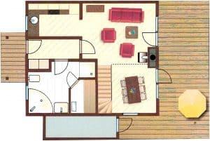 Ferienhaus Falster XL in Bad Saarow am Scharmützelsee – Ansicht Grundriss des Erdgeschosses