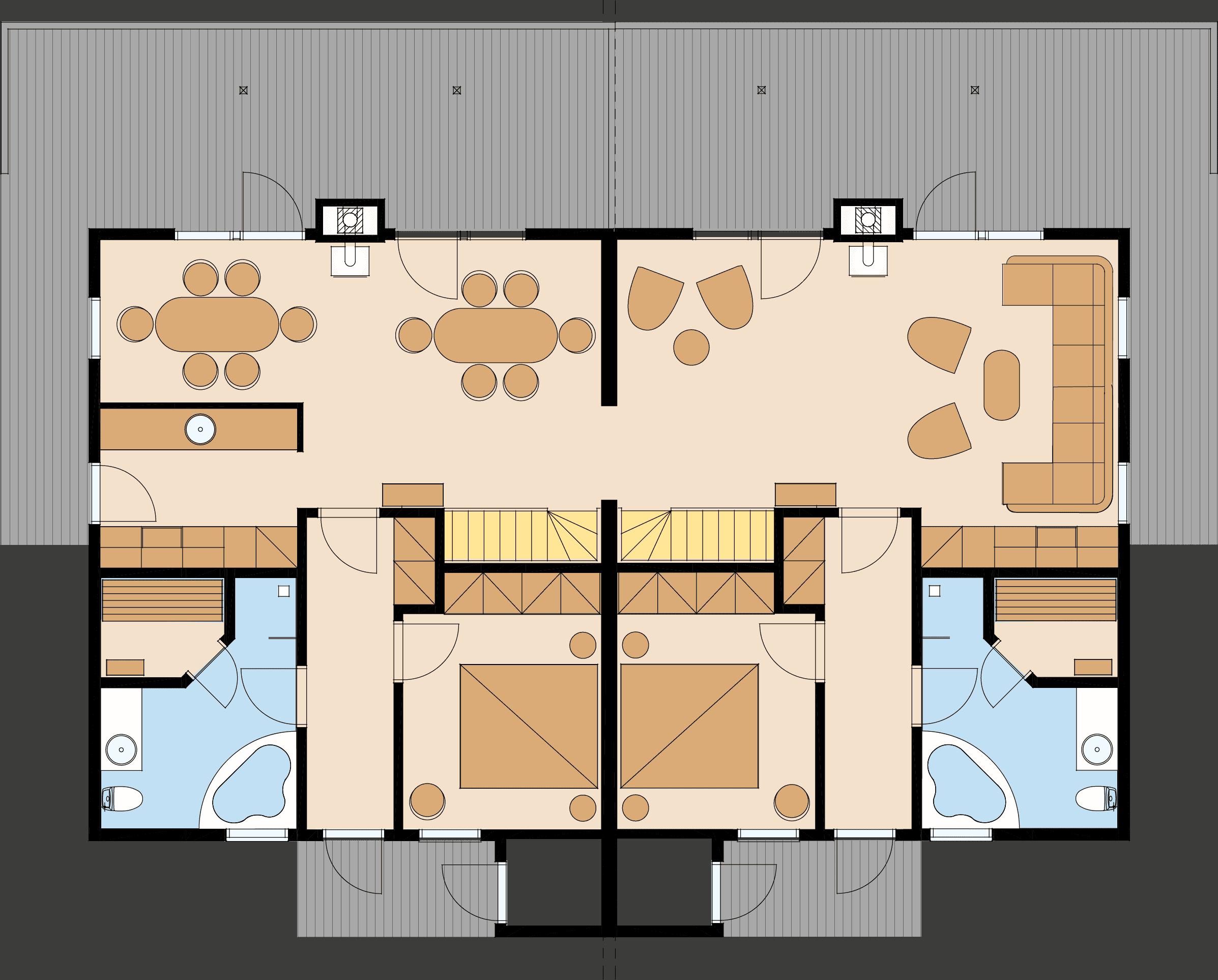 Ferienhaus Fünen XXL in Bad Saarow – Ansicht Grundriss des Erdgeschosses